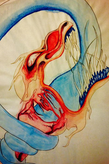 Olivia Buff - 2014 - AtROpHIc AttriTion - Chinese Ink, water color and sharpie